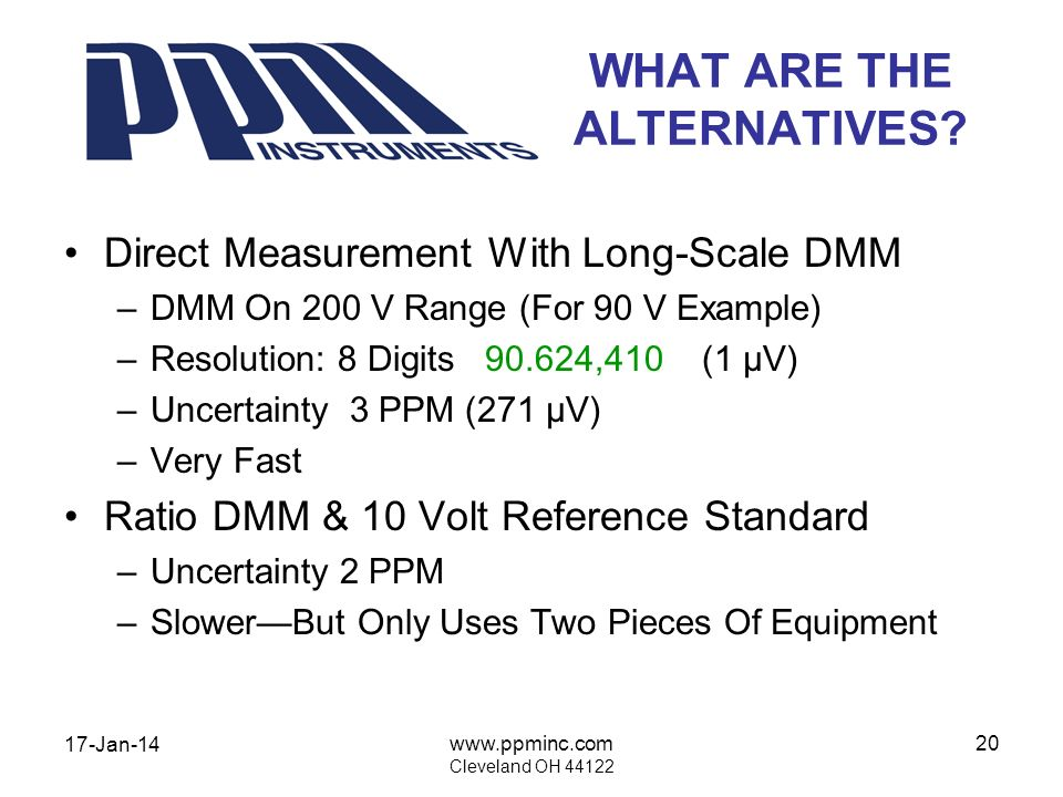 17-Jan-14 www.ppminc.com Cleveland OH 44122 20 WHAT ARE THE ALTERNATIVES? Direct Measurement With Long-Scale DMM –DMM On 200 V Range (For 90 V Example
