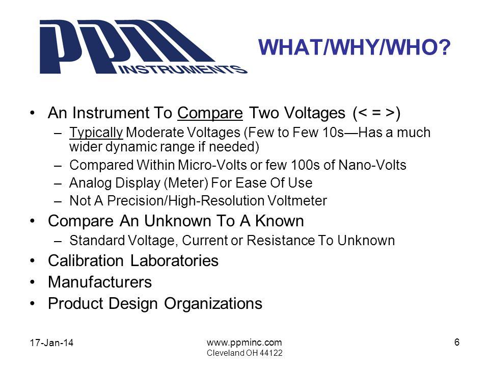 17-Jan-14 www.ppminc.com Cleveland OH 44122 17 BASIC BRIDGE Compare Resistance Ratios Null Achieved When R 1 / R 3 = R 2 / R4 A - B Voltage = Zero Extensions Compare: –Voltage – Temperature –Current – Pressure –Resistance – Force AB