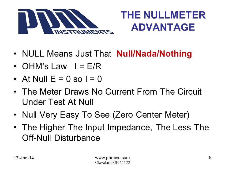 17-Jan-14 www.ppminc.com Cleveland OH 44122 9 THE NULLMETER ADVANTAGE NULL Means Just That Null/Nada/Nothing OHMs Law I = E/R At Null E = 0 so I = 0 T