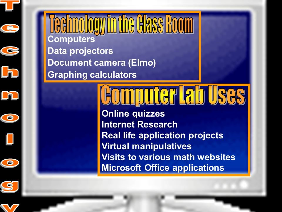 Computers Data projectors Document camera (Elmo) Graphing calculators Online quizzes Internet Research Real life application projects Virtual manipula