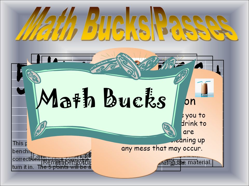 Snack Coupon This coupon entitles you to bring your favorite snack to math class. You are responsible for cleaning up any mess that may occur. Drink C