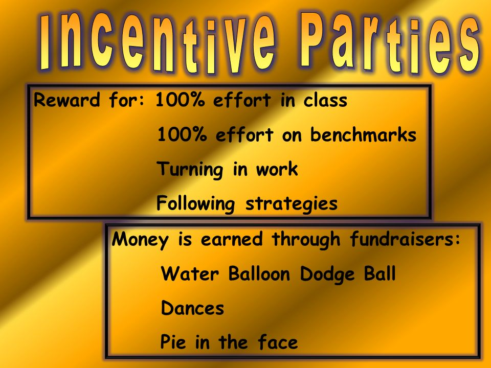 Reward for: 100% effort in class 100% effort on benchmarks Turning in work Following strategies Money is earned through fundraisers: Water Balloon Dod