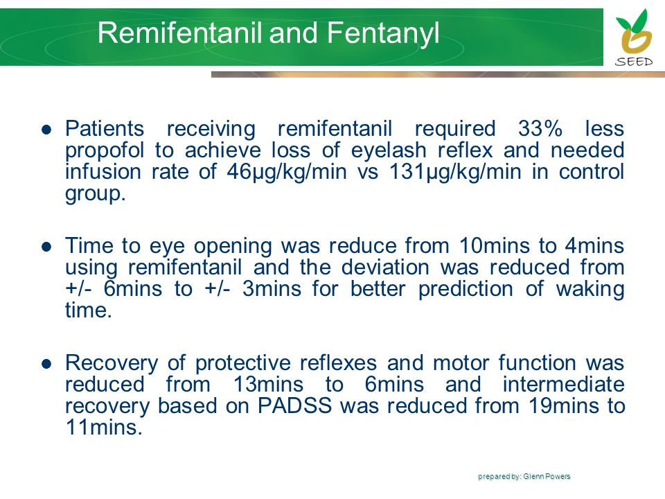 prepared by: Glenn Powers Remifentanil and Fentanyl Patients receiving remifentanil required 33% less propofol to achieve loss of eyelash reflex and n