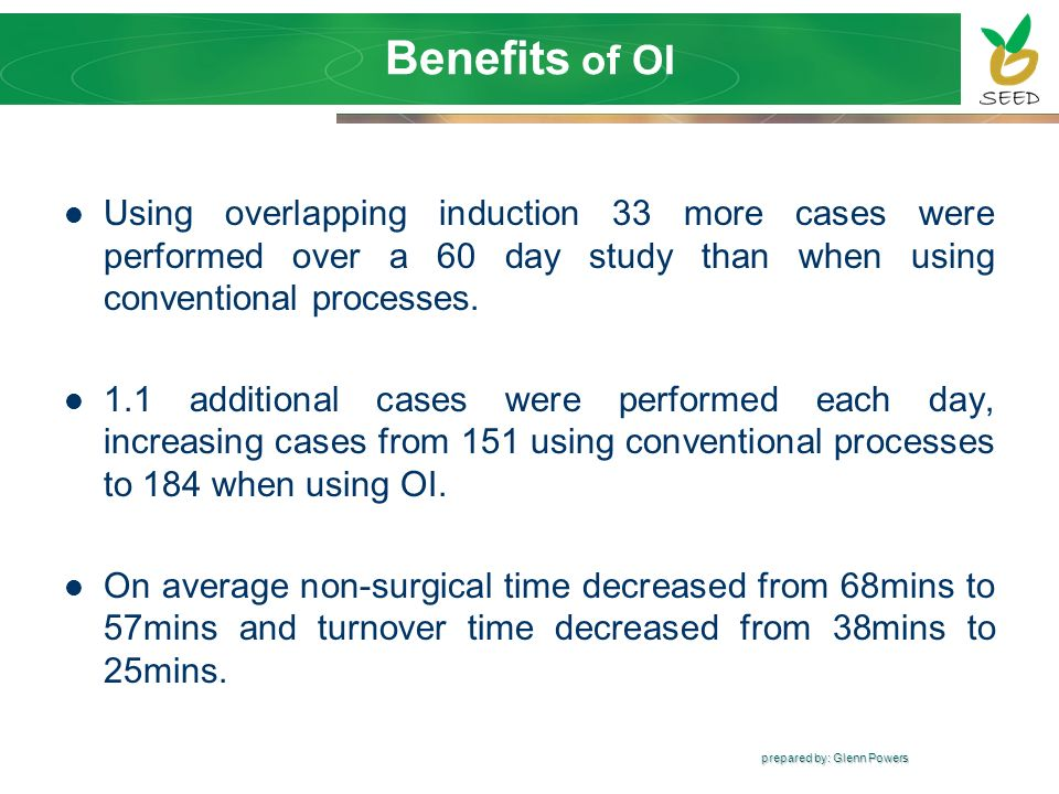 prepared by: Glenn Powers Using overlapping induction 33 more cases were performed over a 60 day study than when using conventional processes. 1.1 add