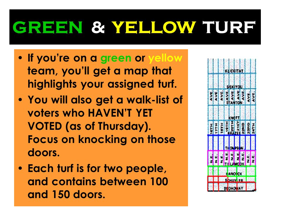 GREEN & If youre on a green or yellow team, youll get a map that highlights your assigned turf.