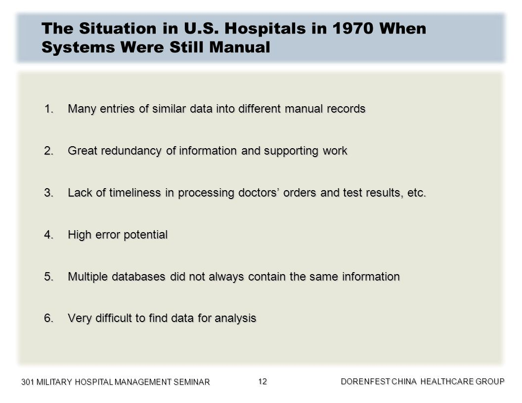 301 MILITARY HOSPITAL MANAGEMENT SEMINAR DORENFEST CHINA HEALTHCARE GROUP 12 The Situation in U.S. Hospitals in 1970 When Systems Were Still Manual 1.