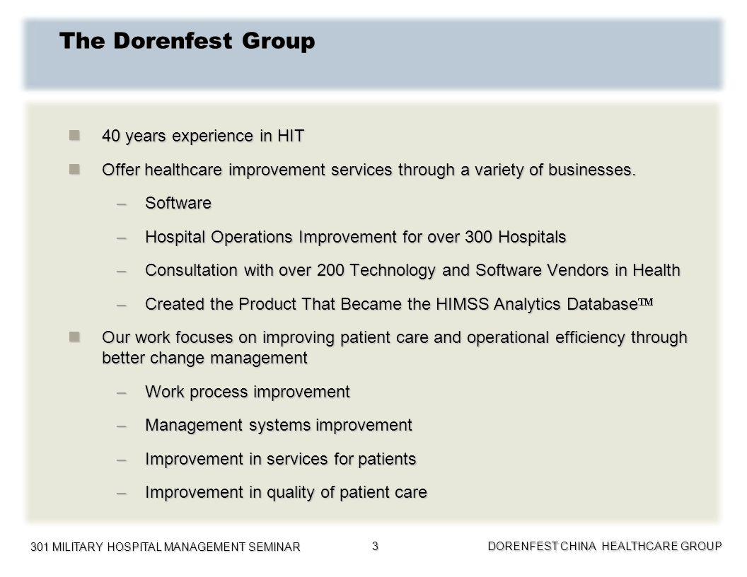 301 MILITARY HOSPITAL MANAGEMENT SEMINAR DORENFEST CHINA HEALTHCARE GROUP 3 The Dorenfest Group 40 years experience in HIT 40 years experience in HIT