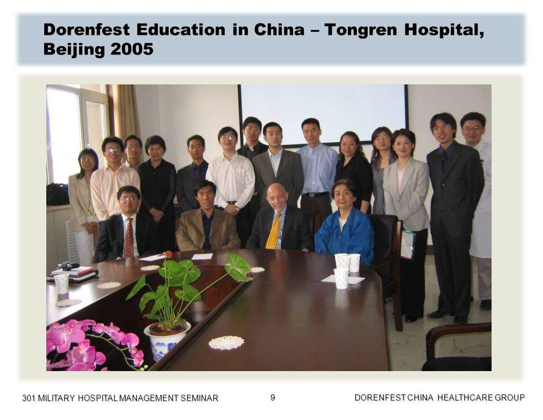 301 MILITARY HOSPITAL MANAGEMENT SEMINAR DORENFEST CHINA HEALTHCARE GROUP 10 Dorenfest Education in China – Zhejiang Medical Association 2009