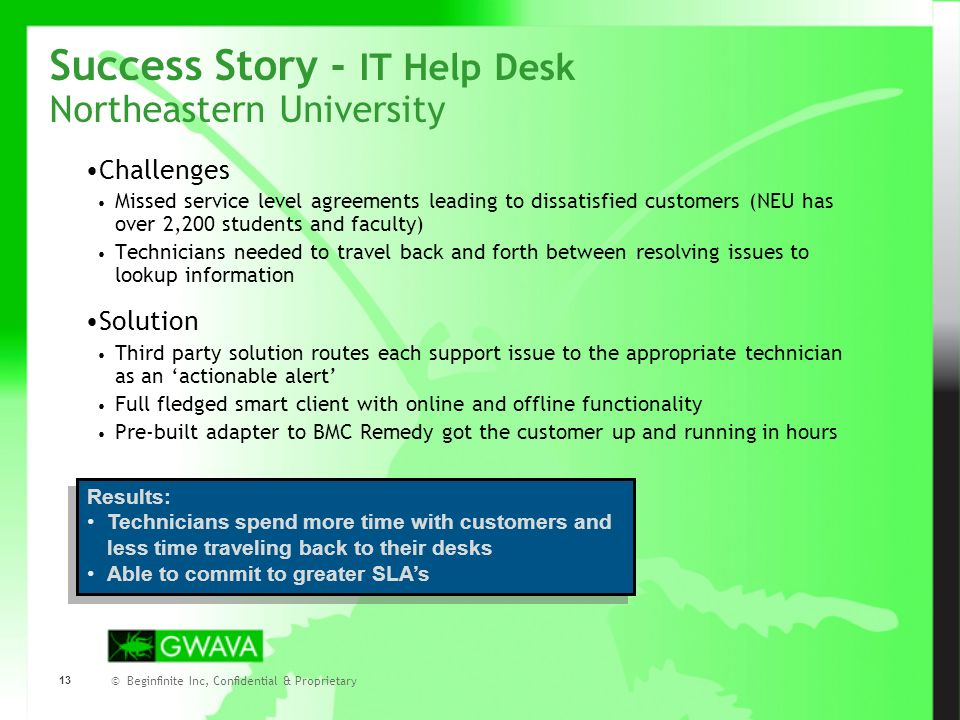 © Beginfinite Inc, Confidential & Proprietary 13 Success Story - IT Help Desk Northeastern University Challenges Missed service level agreements leading to dissatisfied customers (NEU has over 2,200 students and faculty) Technicians needed to travel back and forth between resolving issues to lookup information Solution Third party solution routes each support issue to the appropriate technician as an actionable alert Full fledged smart client with online and offline functionality Pre-built adapter to BMC Remedy got the customer up and running in hours Results: Technicians spend more time with customers and less time traveling back to their desks Able to commit to greater SLAs Results: Technicians spend more time with customers and less time traveling back to their desks Able to commit to greater SLAs