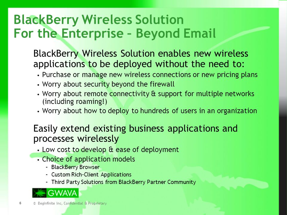 © Beginfinite Inc, Confidential & Proprietary 7 Mobilizing Business Applications Introduction Why are organizations interested in wireless applications beyond email.