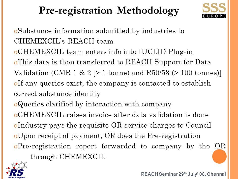 REACH Seminar 29 th July 08, Chennai Pre-registration Methodology oSubstance information submitted by industries to CHEMEXCILs REACH team oCHEMEXCIL t