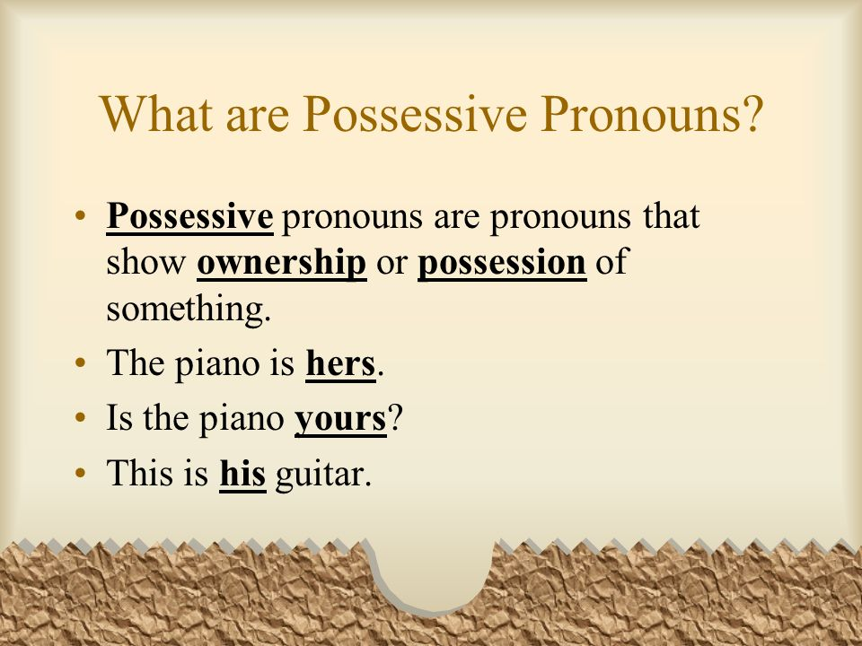 What are Possessive Pronouns.