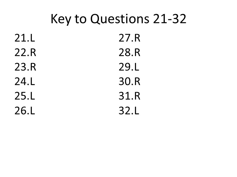 Key to Questions 21-32 21.L 22.R 23.R 24.L 25.L 26.L 27.R 28.R 29.L 30.R 31.R 32.L