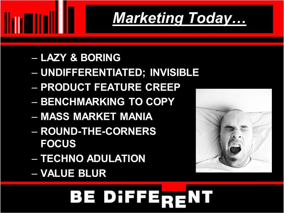 Marketing Today… –LAZY & BORING –UNDIFFERENTIATED; INVISIBLE –PRODUCT FEATURE CREEP –BENCHMARKING TO COPY –MASS MARKET MANIA –ROUND-THE-CORNERS FOCUS –TECHNO ADULATION –VALUE BLUR