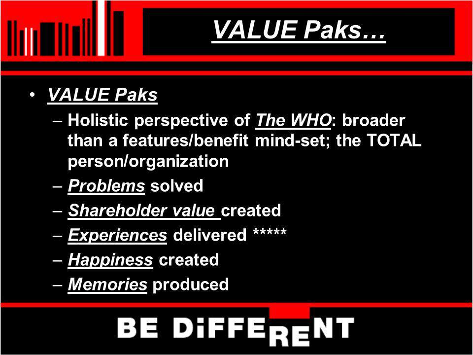 VALUE Paks… VALUE Paks –Holistic perspective of The WHO: broader than a features/benefit mind-set; the TOTAL person/organization –Problems solved –Sha