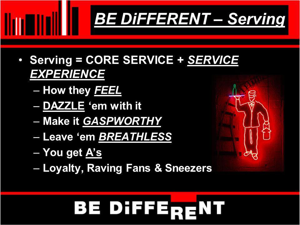 BE DiFFERENT – Serving Serving = CORE SERVICE + SERVICE EXPERIENCE –How they FEEL –DAZZLE em with it –Make it GASPWORTHY –Leave em BREATHLESS –You get
