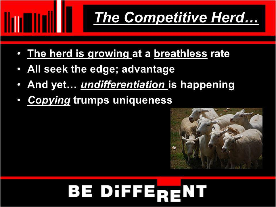 The Competitive Herd… The herd is growing at a breathless rate All seek the edge; advantage And yet… undifferentiation is happening Copying trumps uni