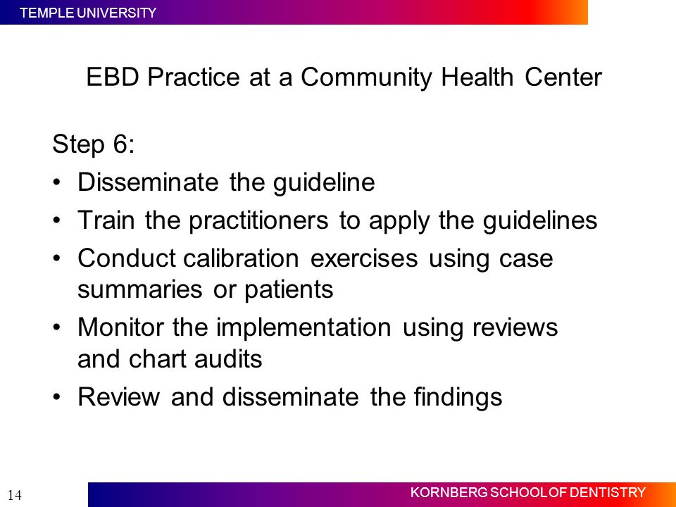 TEMPLE UNIVERSITY KORNBERG SCHOOL OF DENTISTRY 14 Step 6: Disseminate the guideline Train the practitioners to apply the guidelines Conduct calibratio