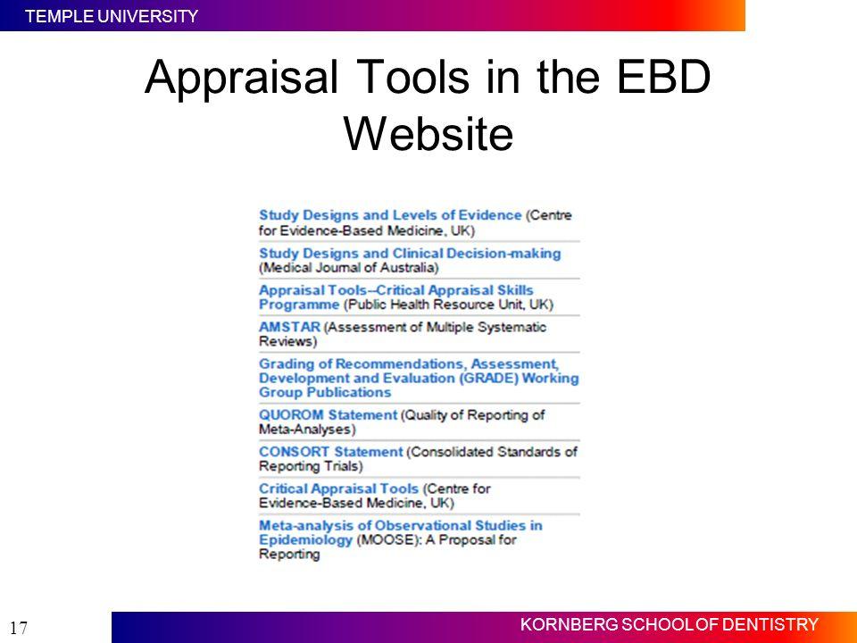 TEMPLE UNIVERSITY KORNBERG SCHOOL OF DENTISTRY 17 Appraisal Tools in the EBD Website