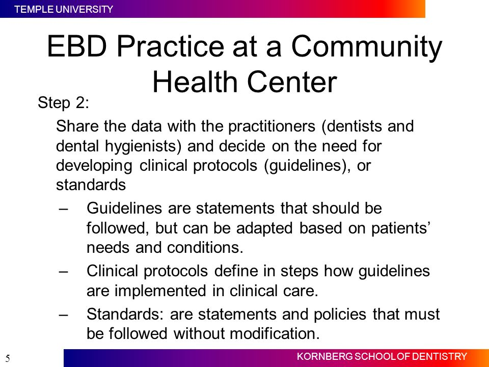 TEMPLE UNIVERSITY KORNBERG SCHOOL OF DENTISTRY 5 EBD Practice at a Community Health Center Step 2: Share the data with the practitioners (dentists and