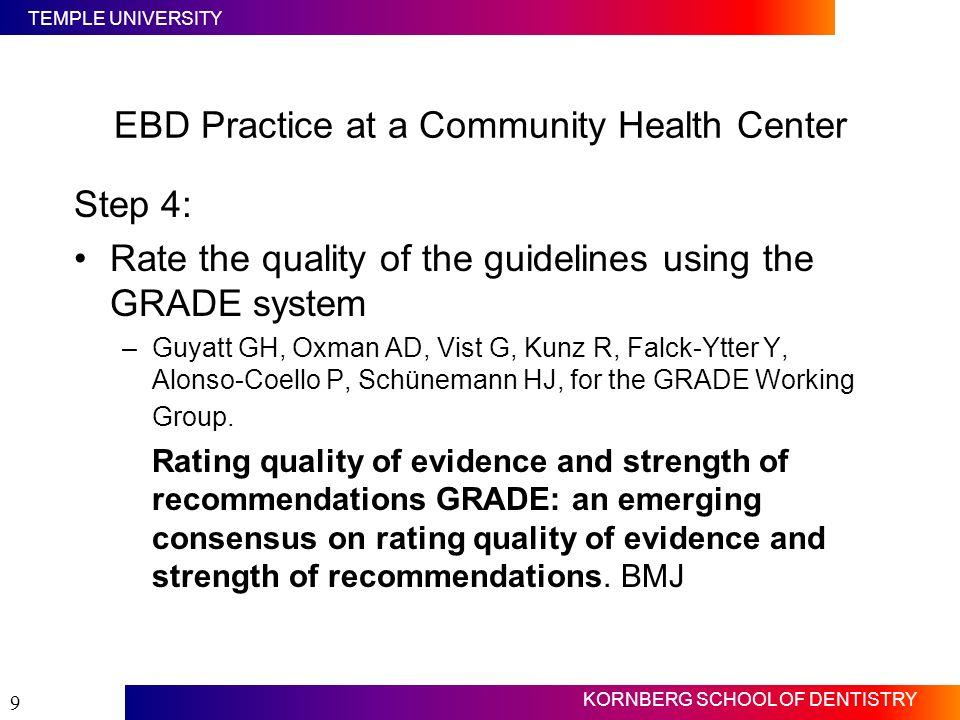 TEMPLE UNIVERSITY KORNBERG SCHOOL OF DENTISTRY 9 Step 4: Rate the quality of the guidelines using the GRADE system –Guyatt GH, Oxman AD, Vist G, Kunz