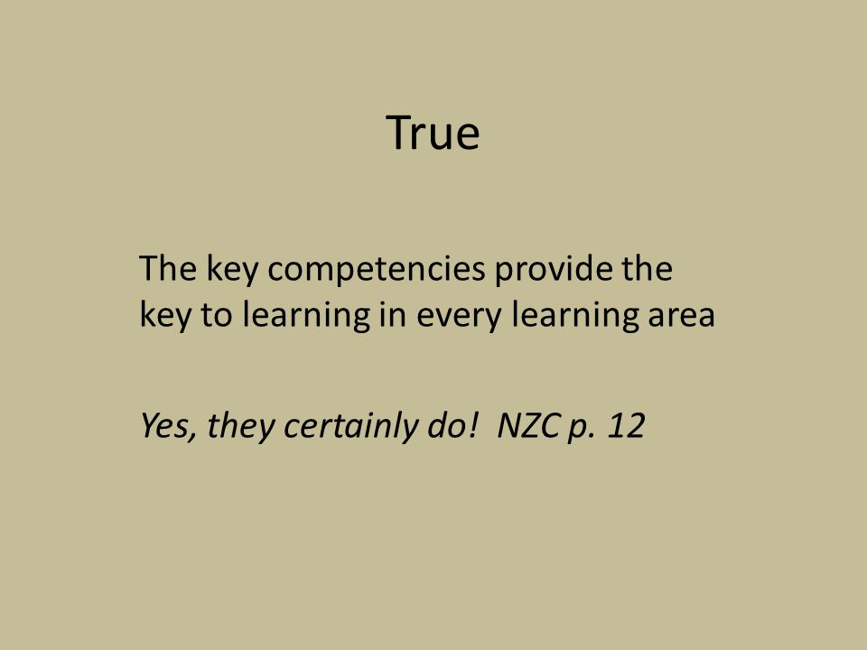 True The key competencies provide the key to learning in every learning area Yes, they certainly do.