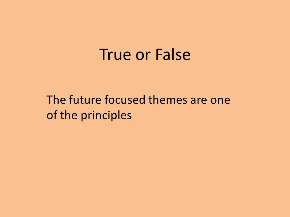 True or False The future focused themes are one of the principles
