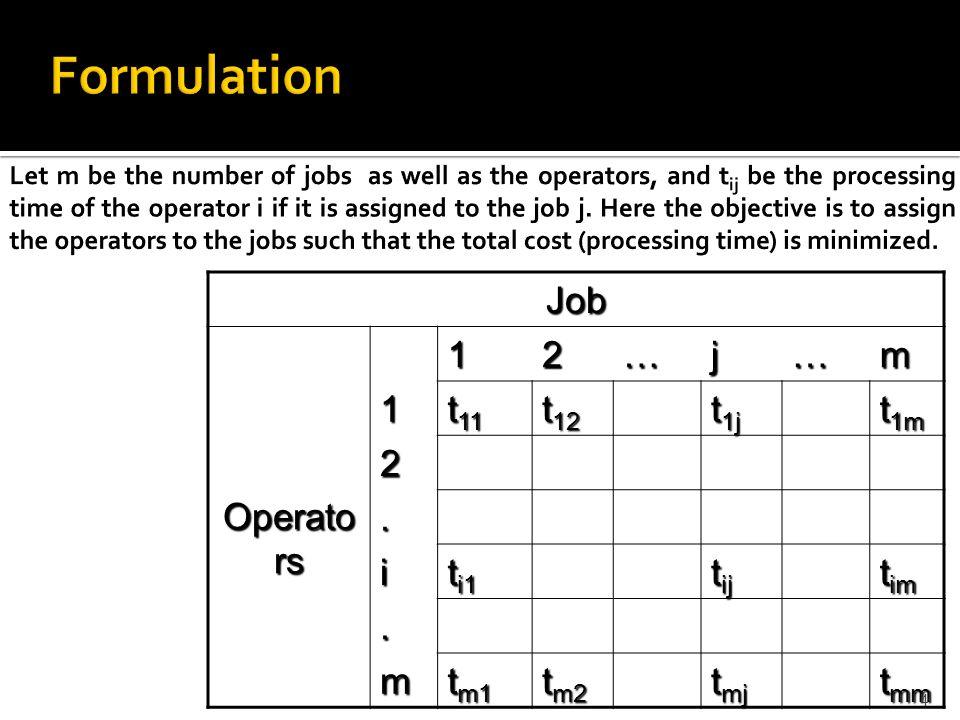 Job Operato rs 12…j…m 1 t 11 t 12 t 1j t 1m 2. i t i1 t ij t im.