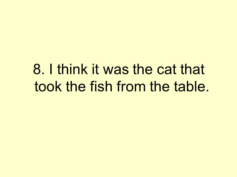 8. I think it was the cat that took the fish from the table.