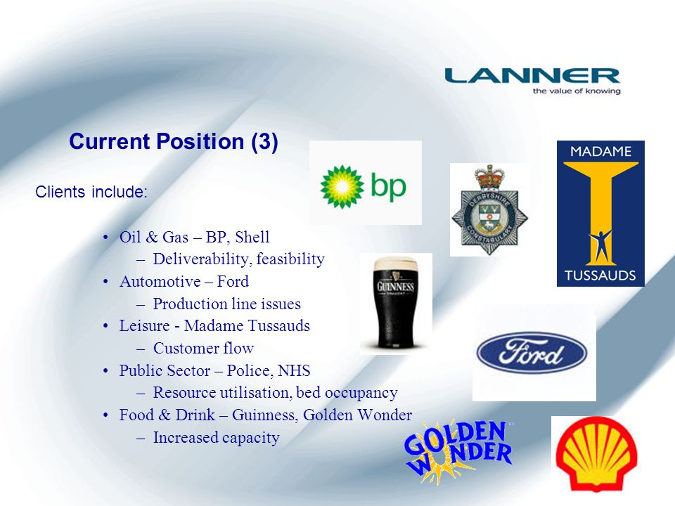 Current Position (3) Clients include: Oil & Gas – BP, Shell –Deliverability, feasibility Automotive – Ford –Production line issues Leisure - Madame Tussauds –Customer flow Public Sector – Police, NHS –Resource utilisation, bed occupancy Food & Drink – Guinness, Golden Wonder –Increased capacity
