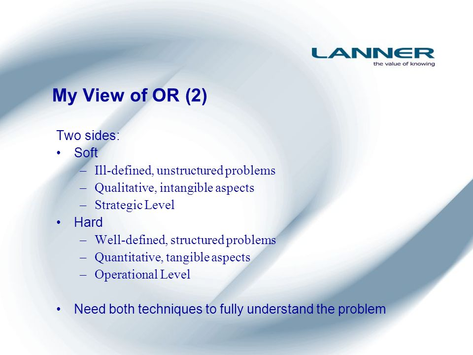 My View of OR (2) Two sides: Soft –Ill-defined, unstructured problems –Qualitative, intangible aspects –Strategic Level Hard –Well-defined, structured problems –Quantitative, tangible aspects –Operational Level Need both techniques to fully understand the problem