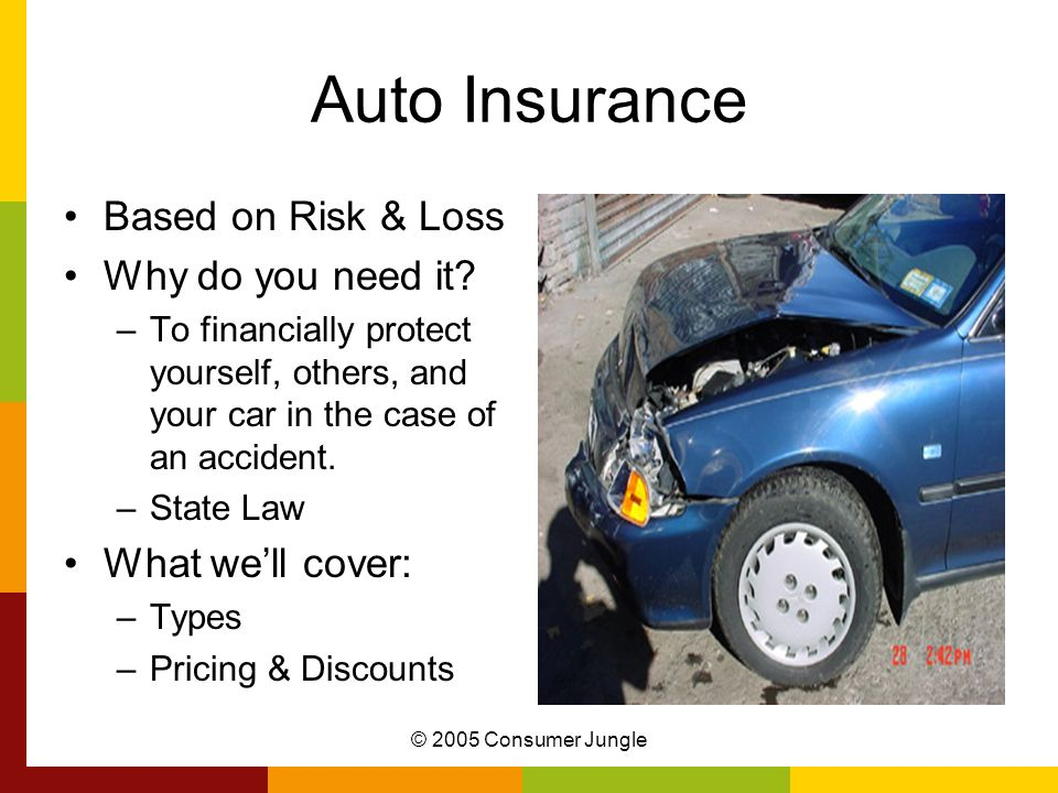 © 2005 Consumer Jungle Auto Insurance Based on Risk & Loss Why do you need it.