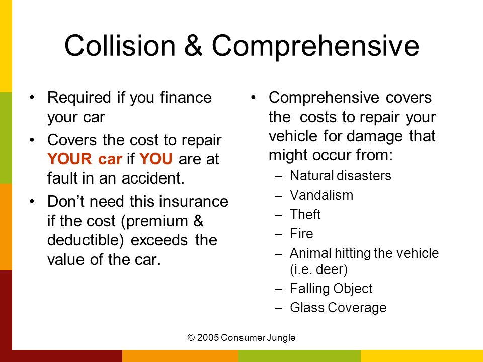 © 2005 Consumer Jungle Collision & Comprehensive Required if you finance your car Covers the cost to repair YOUR car if YOU are at fault in an acciden