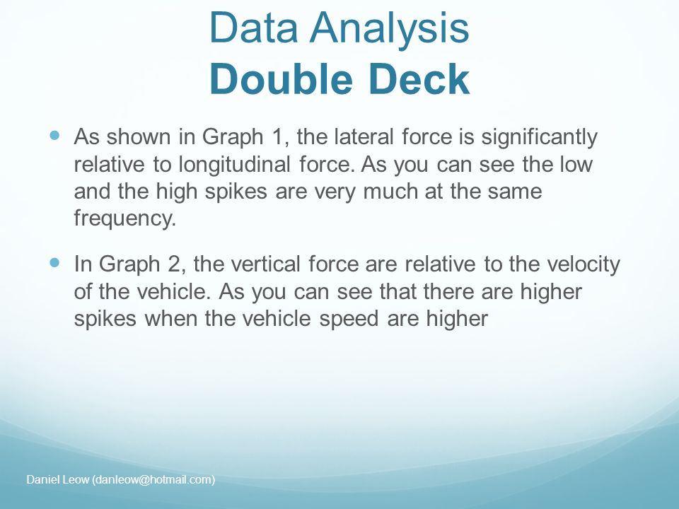 Data Analysis Double Deck As shown in Graph 1, the lateral force is significantly relative to longitudinal force.