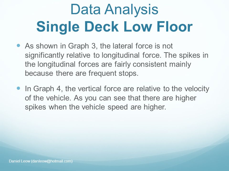 Data Analysis Single Deck Low Floor As shown in Graph 3, the lateral force is not significantly relative to longitudinal force.