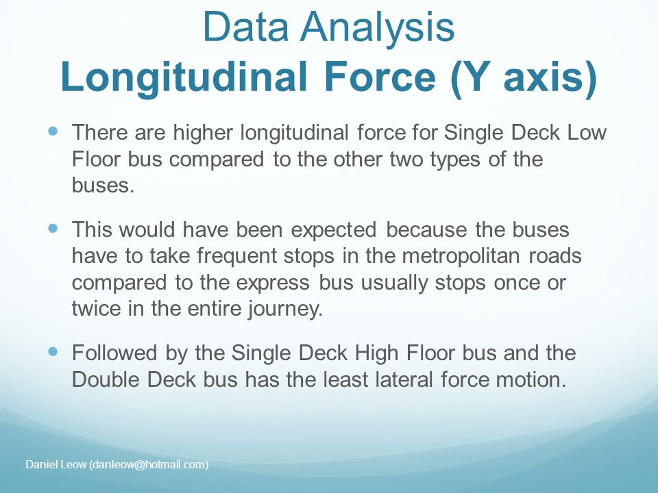 Data Analysis Longitudinal Force (Y axis) There are higher longitudinal force for Single Deck Low Floor bus compared to the other two types of the buses.