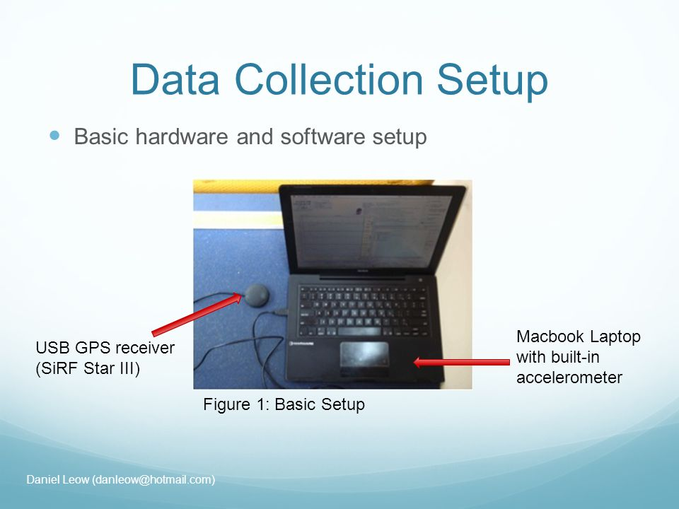 Data Collection Setup Basic hardware and software setup USB GPS receiver (SiRF Star III) Macbook Laptop with built-in accelerometer Figure 1: Basic Setup Daniel Leow