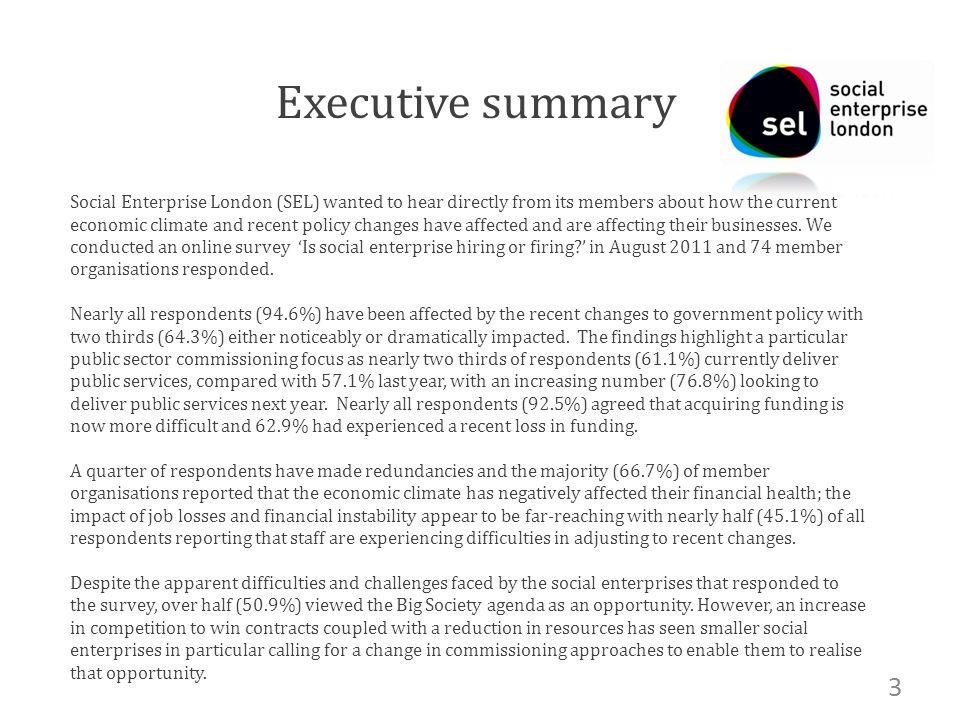 Executive summary Social Enterprise London (SEL) wanted to hear directly from its members about how the current economic climate and recent policy changes have affected and are affecting their businesses.