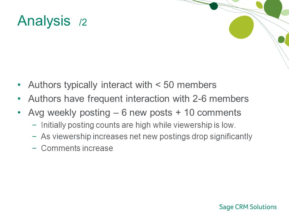 Analysis /2 Authors typically interact with < 50 members Authors have frequent interaction with 2-6 members Avg weekly posting – 6 new posts + 10 comments Initially posting counts are high while viewership is low.