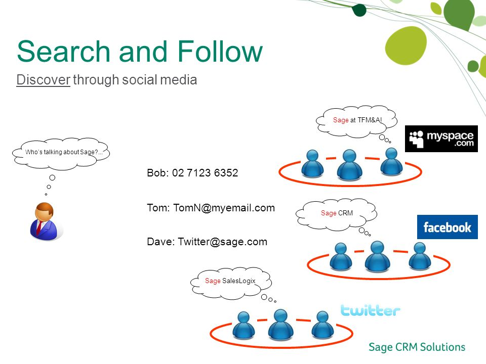 Search and Follow Discover through social media Whos talking about Sage ...