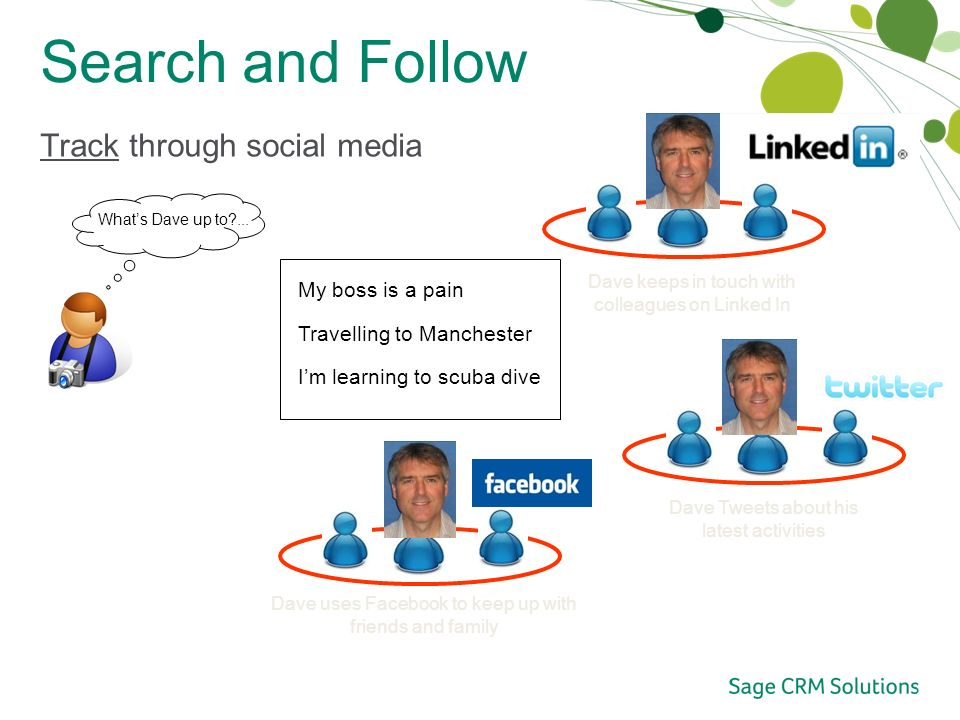Search and Follow Track through social media Twitter Whats Dave up to ...