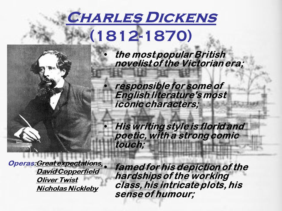 Charles Dickens (1812-1870) the most popular British novelist of the Victorian era; responsible for some of English literature's most iconic character