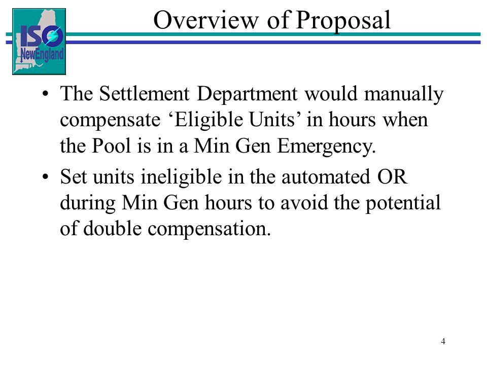 4 Drag the side handles to Overview of Proposal The Settlement Department would manually compensate Eligible Units in hours when the Pool is in a Min