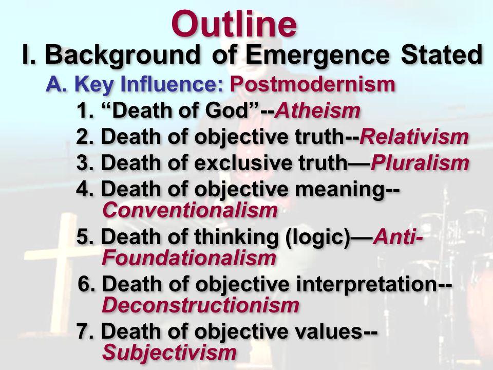 I.Background of Emergence Stated A. Key Influence: Postmodernism B.