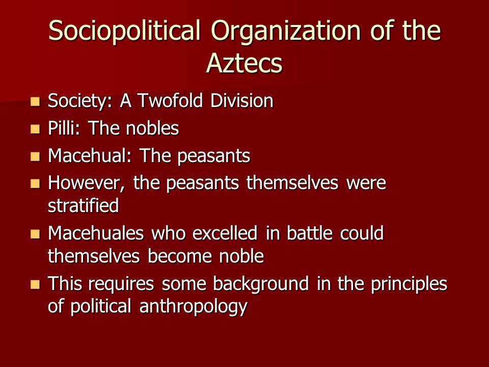 Sociopolitical Organization of the Aztecs Society: A Twofold Division Society: A Twofold Division Pilli: The nobles Pilli: The nobles Macehual: The pe