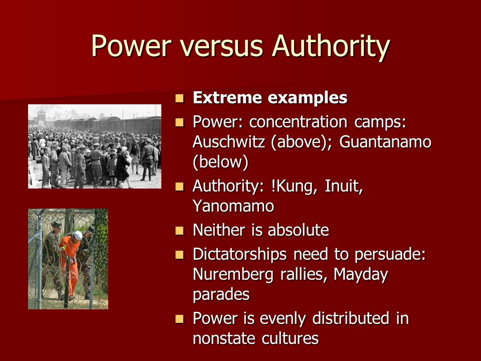 Power versus Authority Extreme examples Extreme examples Power: concentration camps: Auschwitz (above); Guantanamo (below) Power: concentration camps: