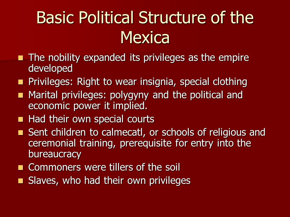 Basic Political Structure of the Mexica The nobility expanded its privileges as the empire developed The nobility expanded its privileges as the empir