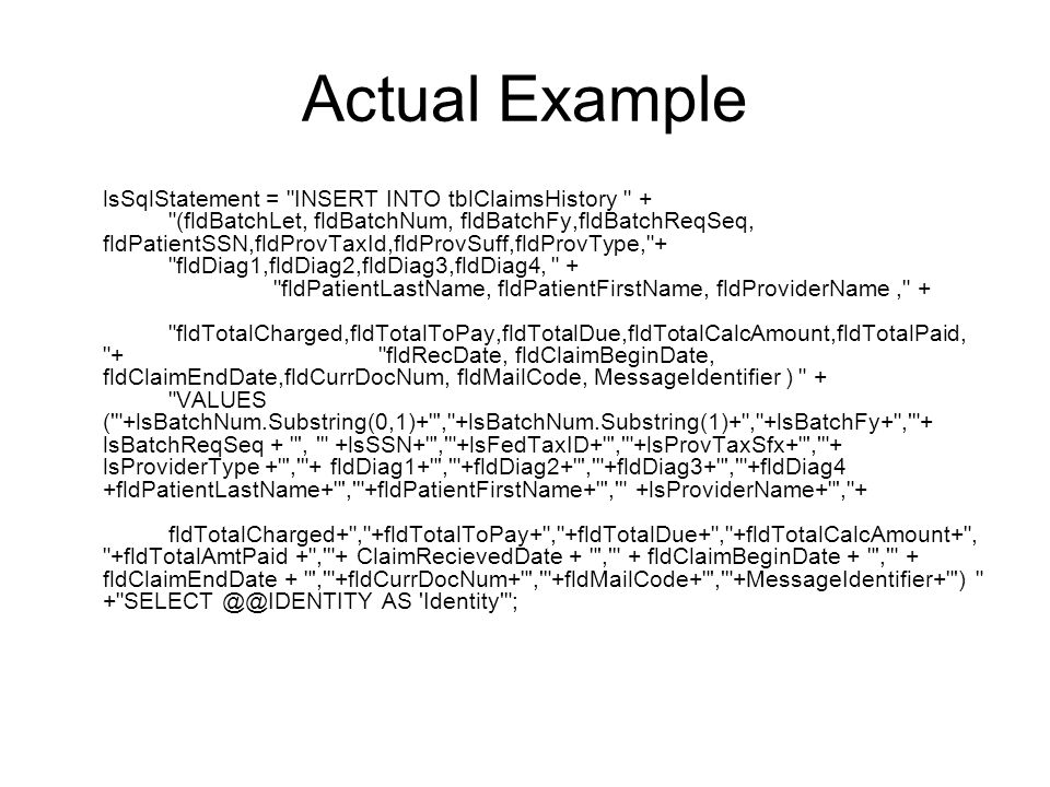 Actual Example lsSqlStatement =