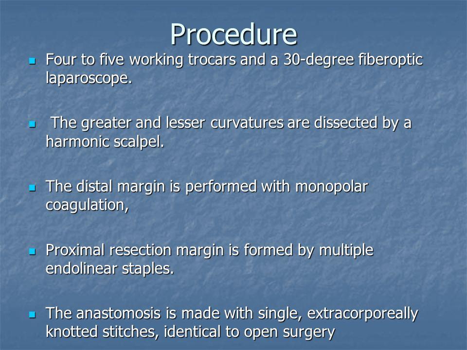 Procedure Four to five working trocars and a 30-degree fiberoptic laparoscope. Four to five working trocars and a 30-degree fiberoptic laparoscope. Th
