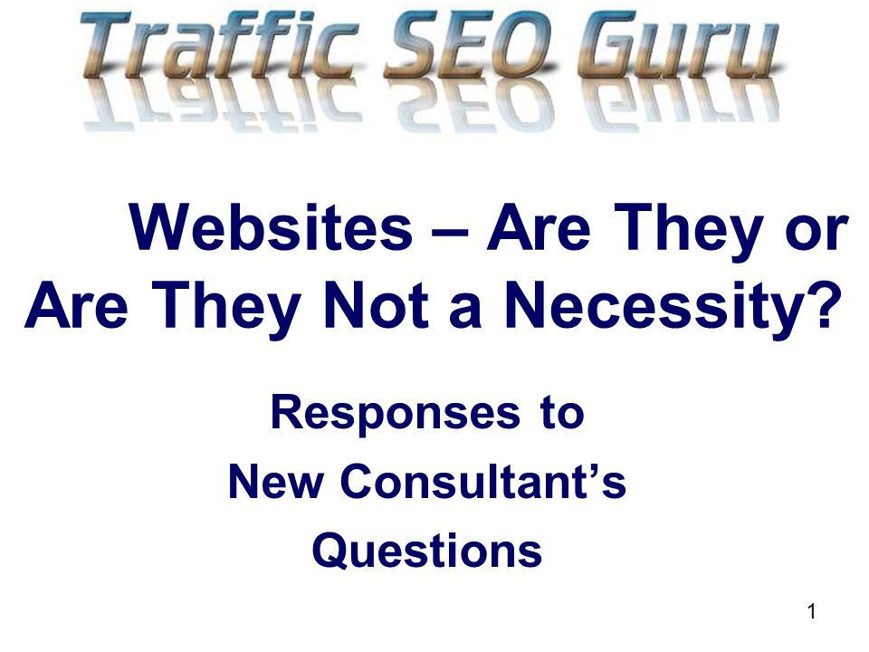 1 Websites – Are They or Are They Not a Necessity Responses to New Consultants Questions